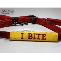 I BITE - ITH Leash Safety Wrap Yellow Dog Ribbon 5x7 inch Machine Embroidery Design