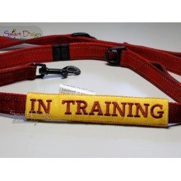 IN TRAINING - ITH Leash Safety Wrap Yellow Dog Ribbon 5x7 inch Machine Embroidery Design