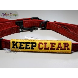 KEEP CLEAR - ITH Leash Safety Wrap Yellow Dog Ribbon 5x7 inch Machine Embroidery Design