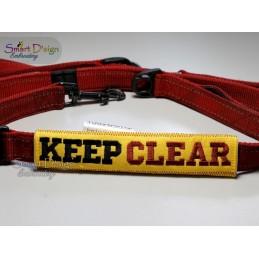 KEEP CLEAR - ITH Leinen Sicherheits-Überzieher - Gelber Hund Projekt 13x18 cm Stickdatei