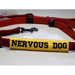 NERVOUS DOG - ITH Leash Safety Wrap Yellow Dog Ribbon 5x7 inch Machine Embroidery Design