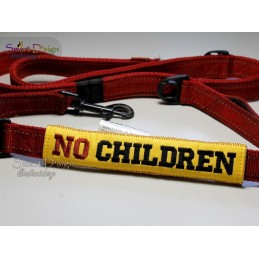 NO CHILDREN - ITH Leash Safety Wrap Yellow Dog Ribbon 5x7 inch Machine Embroidery Design