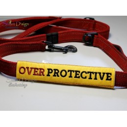 OVERPROTECTIVE - ITH Leash Safety Wrap Yellow Dog Ribbon 5x7 inch Machine Embroidery Design