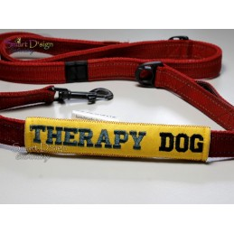 THERAPY DOG - ITH Leash Safety Wrap Yellow Dog Ribbon 5x7 inch Machine Embroidery Design