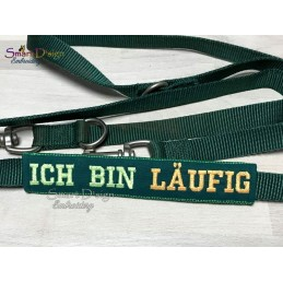 ICH BIN LÄUFIG - ITH Leash Safety Wrap Yellow Dog Ribbon 5x7 inch Machine Embroidery Design