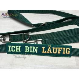 ICH BIN LÄUFIG - ITH Leinen Sicherheits-Überzieher - Gelber Hund Projekt 13x18 cm Stickdatei