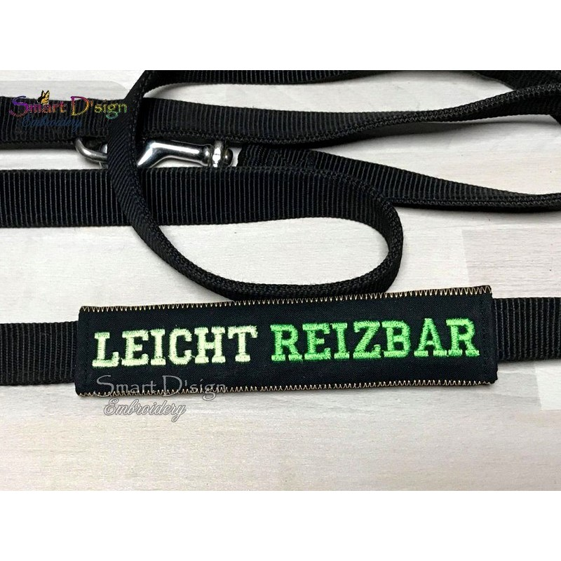 LEICHT REIZBAR - ITH Leash Safety Wrap Yellow Dog Ribbon 5x7 inch Machine Embroidery Design