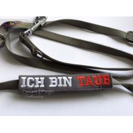 ICH BIN TAUB - ITH Leinen Sicherheits-Überzieher - Gelber Hund Projekt 13x18 cm Stickdatei
