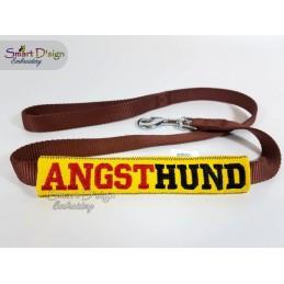 ANGSTHUND - ITH Leinen Sicherheits-Überzieher - Gelber Hund Projekt 13x18 cm Stickdatei