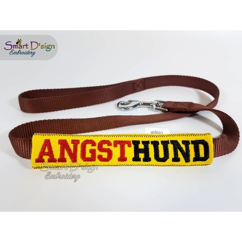 ANGSTHUND - ITH Leash Safety Wrap Yellow Dog Ribbon 5x7 inch Machine Embroidery Design