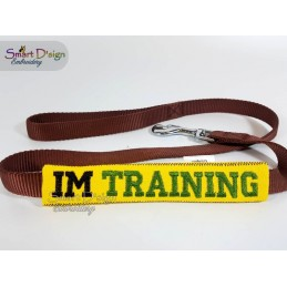 IM TRAINING - ITH Leash Safety Wrap Yellow Dog Ribbon 5x7 inch Machine Embroidery Design