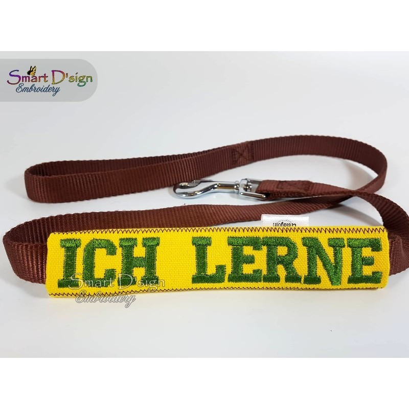 ICH LERNE - ITH Leash Safety Wrap Yellow Dog Ribbon 5x7 inch Machine Embroidery Design