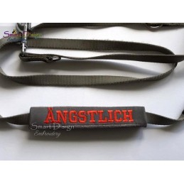 ÄNGSTLICH - ITH Leash Safety Wrap Yellow Dog Ribbon 5x7 inch Machine Embroidery Design