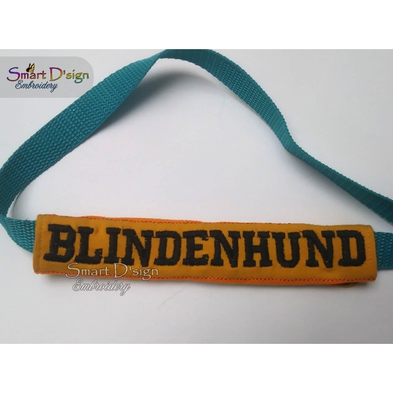 BLINDENHUND - ITH Leash Safety Wrap Yellow Dog Ribbon 5x7 inch Machine Embroidery Design