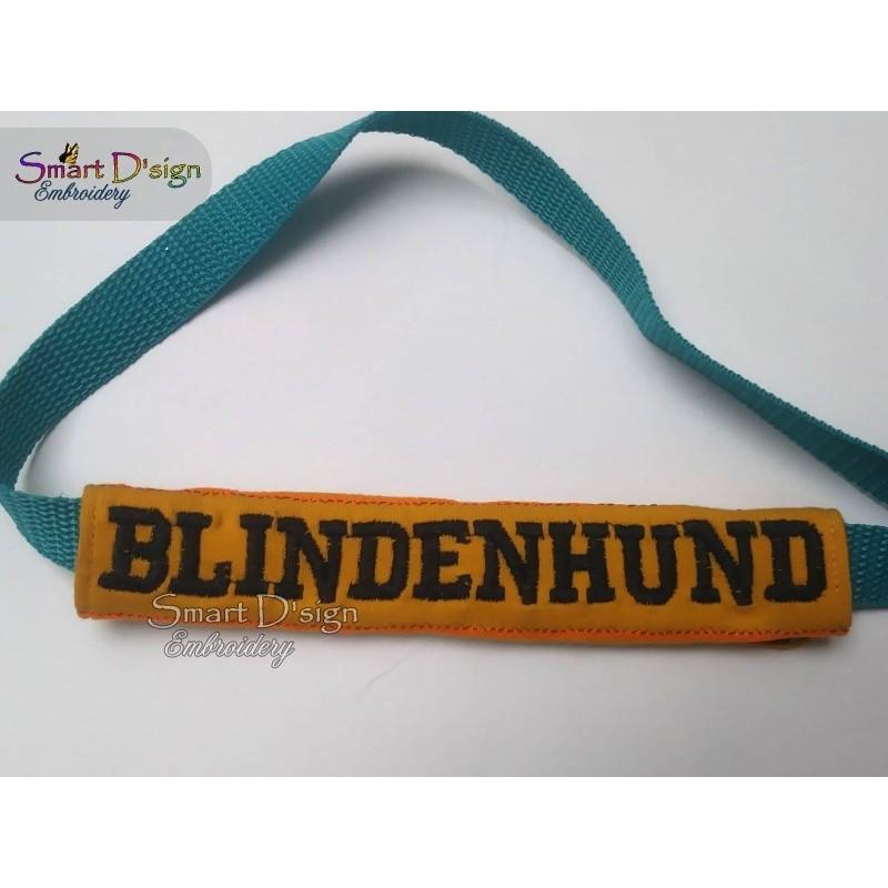 BLINDENHUND - ITH Leash Safety Wrap Yellow Dog Ribbon 5x7 inch Machine Embroidery Design