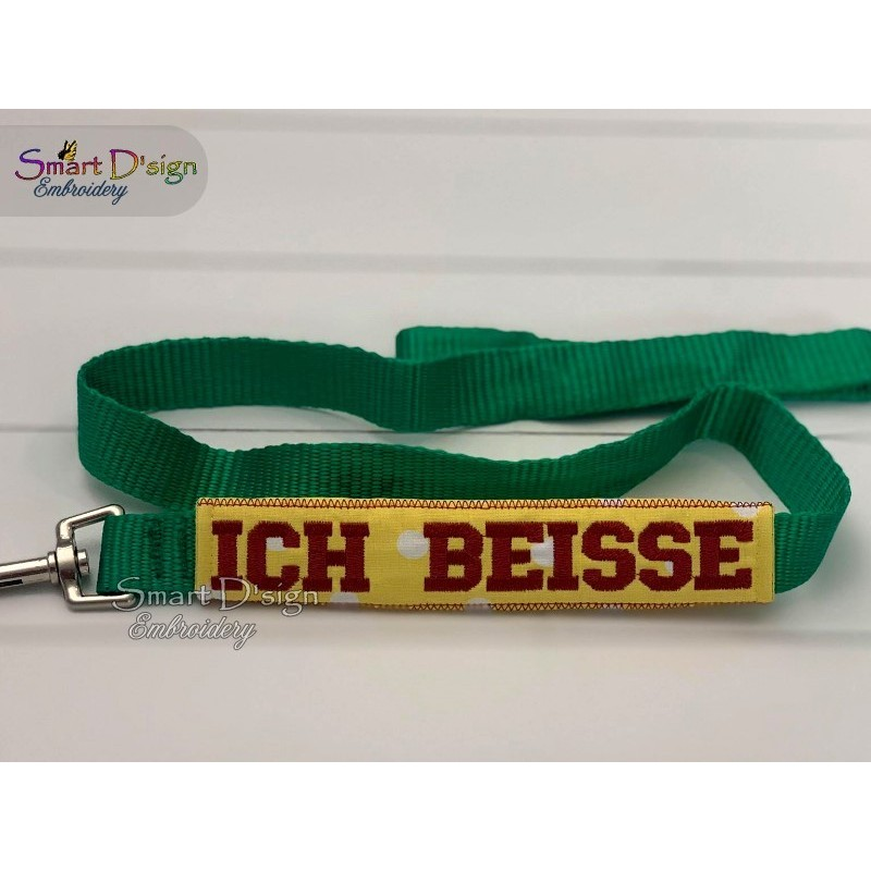 ICH BEISSE - ITH Leash Safety Wrap Yellow Dog Ribbon 5x7 inch Machine Embroidery Design