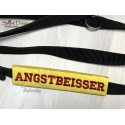 ANGSTBEISSER - ITH Leash Safety Wrap Yellow Dog Ribbon 5x7 inch Machine Embroidery Design