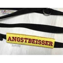 ANGSTBEISSER - ITH Leinen Sicherheits-Überzieher - Gelber Hund Projekt 13x18 cm Stickdatei