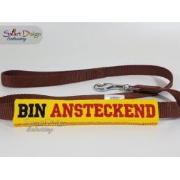 BIN ANSTECKEND - ITH Leinen Sicherheits-Überzieher - Gelber Hund Projekt 13x18 cm Stickdatei