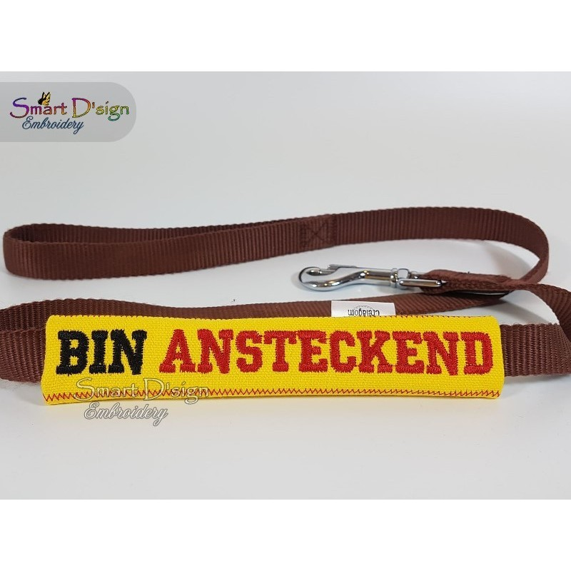 BIN ANSTECKEND - ITH Leash Safety Wrap Yellow Dog Ribbon 5x7 inch Machine Embroidery Design