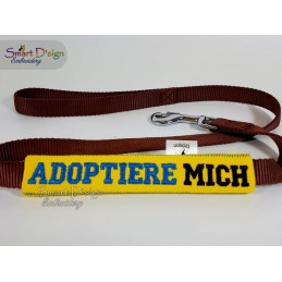 ADOPTIERE MICH - ITH Leash Safety Wrap Yellow Dog Ribbon 5x7 inch Machine Embroidery Design