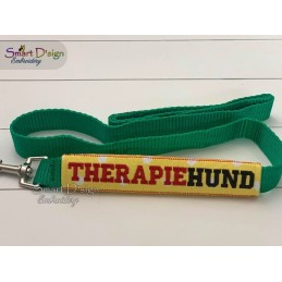 THERAPIEHUND - ITH Leash Safety Wrap Yellow Dog Ribbon 5x7 inch Machine Embroidery Design