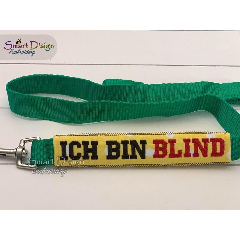 ICH BIN BLIND - ITH Leash Safety Wrap Yellow Dog Ribbon 5x7 inch Machine Embroidery Design