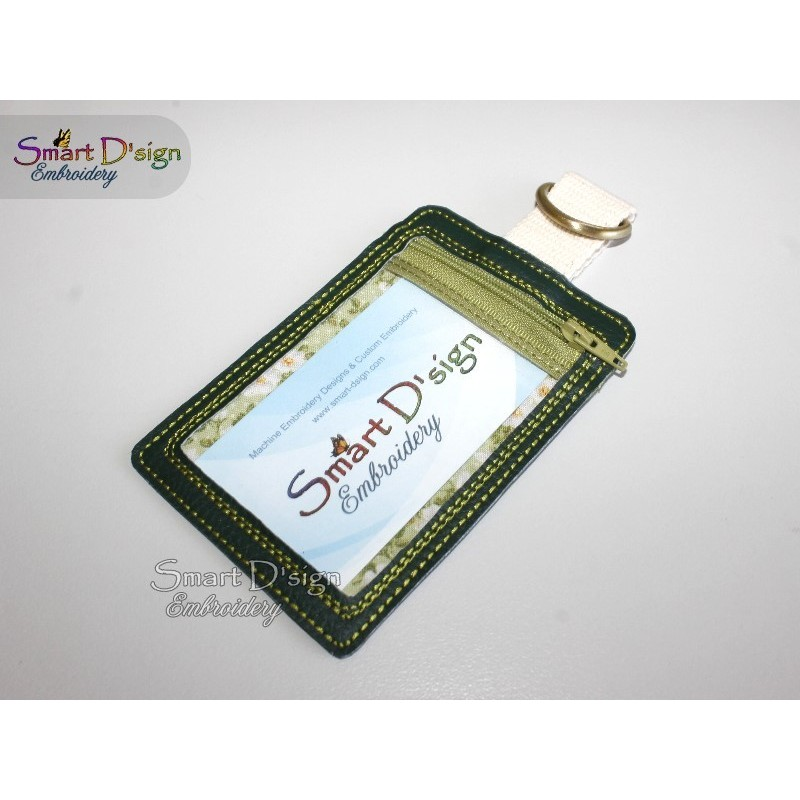 ITH ID Card Holder Luggage Tag 5x7 inch Machine Embroidery Design