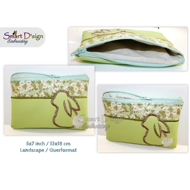 ITH BUNNY Silhouette Bag w. Inside Pockets Machine Embroidery Design