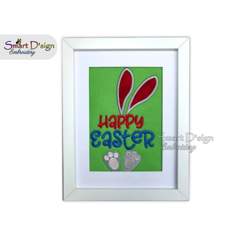 Happy Easter Bunny Applique 5x7 inch Machine Embroidery Design