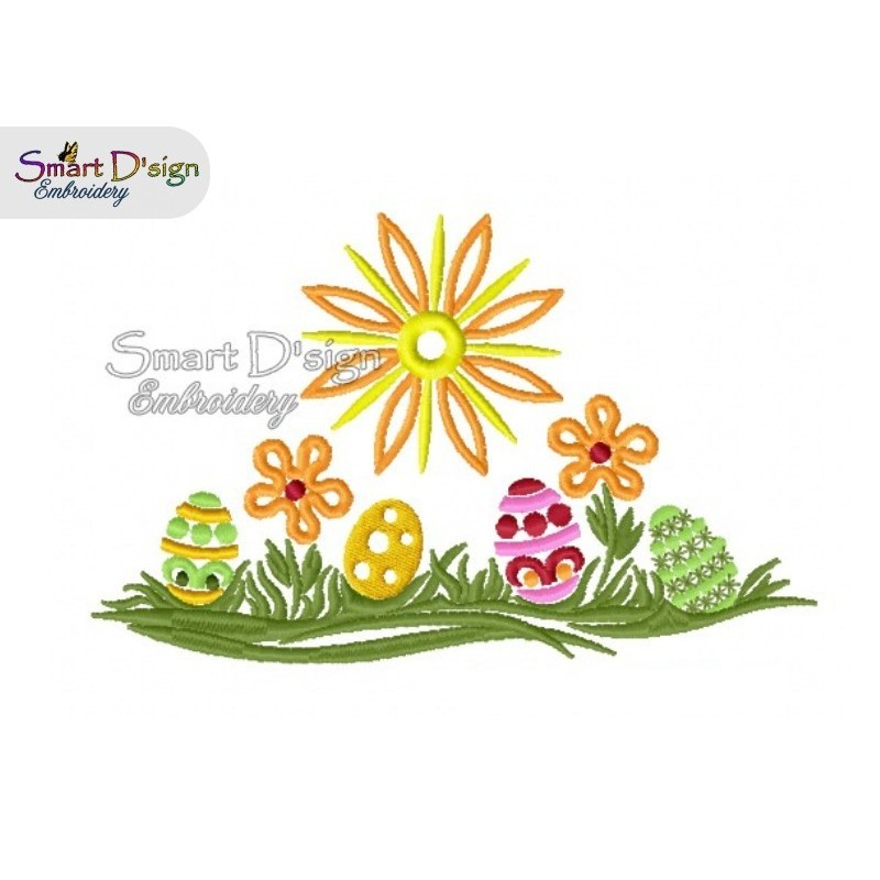 Easter Meadow Greeting Card 5x7 inch Machine Embroidery Design
