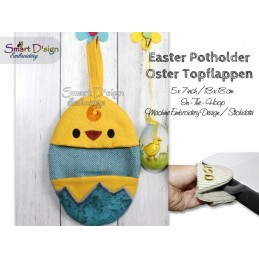 ITH Easter Potholder CHICKEN 5x7 inch Machine Embroidery Design
