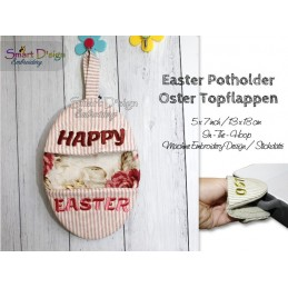 ITH Easter Potholder HAPPY EASTER 5x7 inch Machine Embroidery Design