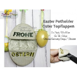 ITH Easter Potholder FROHE OSTERN 5x7 inch Machine Embroidery Design