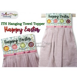 HAPPY EASTER ITH Hanging Towel Topper, Machine Embroidery Design