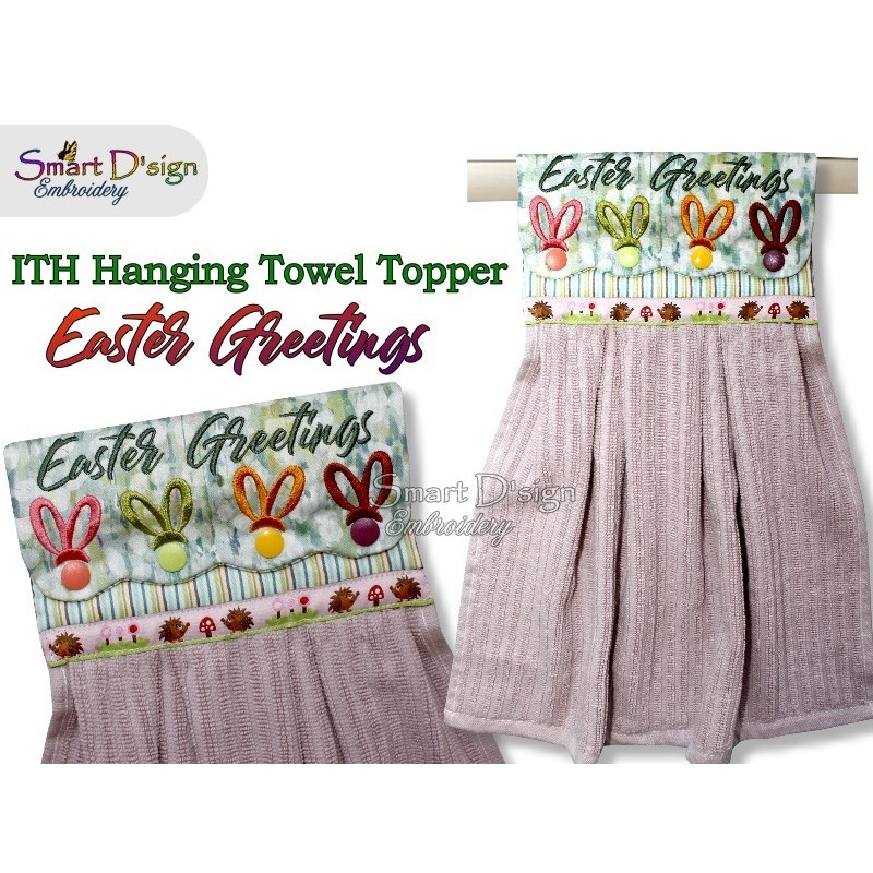 EASTER GREETINGS ITH Hanging Towel Topper, Machine Embroidery Design