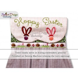 HOPPY EASTER ITH Hanging Towel Topper, Machine Embroidery Design