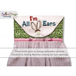 I'M ALL EARS ITH Hanging Towel Topper, Machine Embroidery Design