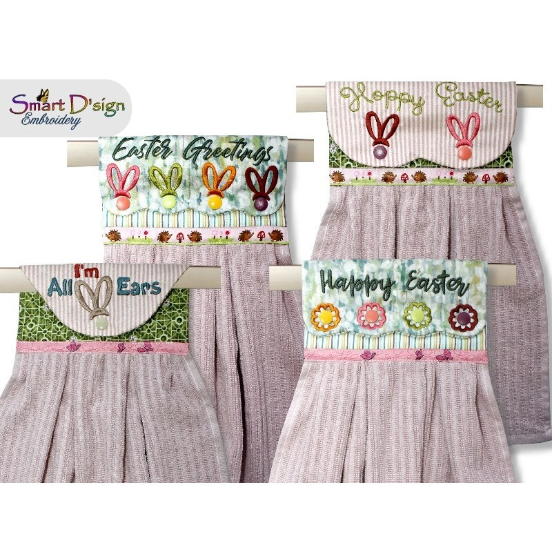 Set of 4 Easter ITH Hanging Towel Topper Machine Embroidery Design
