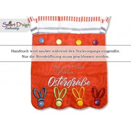 OSTERGRÜSSE ITH Hanging Towel Topper, Machine Embroidery Design