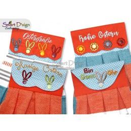 Set DEUTSCH 4 Oster ITH Hängeschlaufen für Geschirrtücher, 4 Größen verfügbar Stickdatei