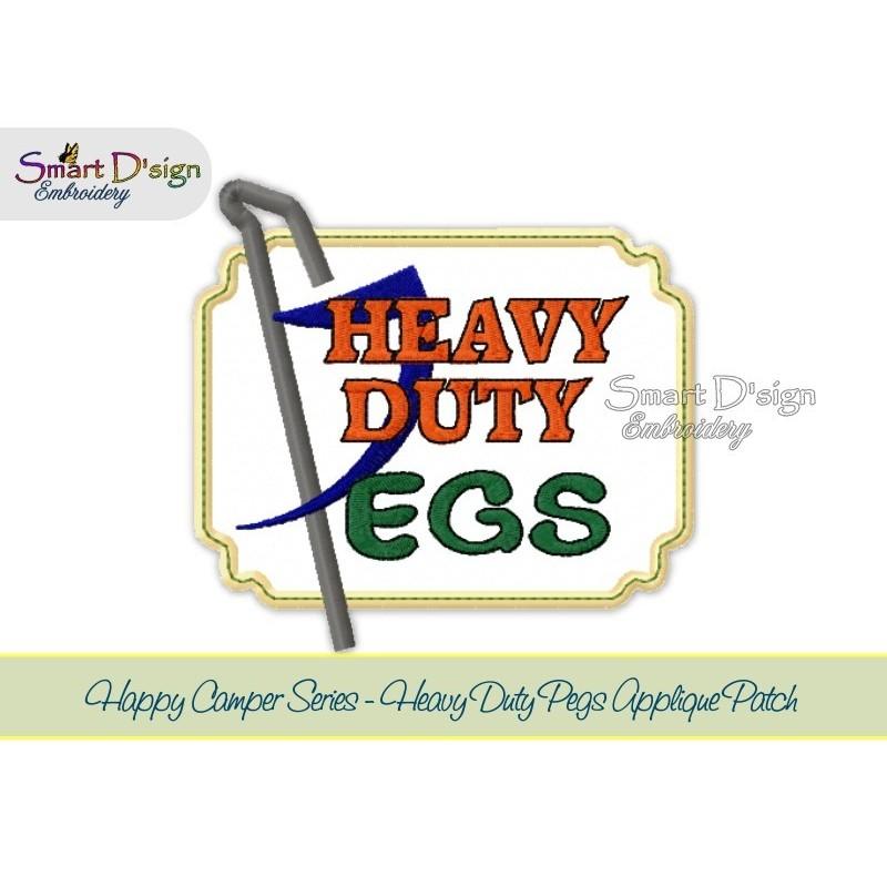 HEAVY DUTY PEGS Applique 5x7 inch Machine Embroidery Design