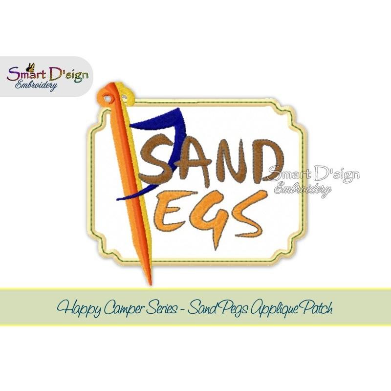 SAND PEGS Applique 5x7 inch Machine Embroidery Design