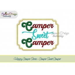 CAMPER SWEET CAMPER Applique 5x7 inch Machine Embroidery Design