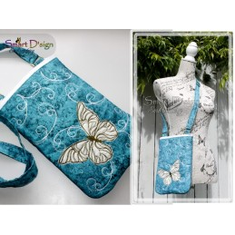 ITH BUTTERFLY - CROSS BODY BAG in 5 Sizes Machine Embroidery Design