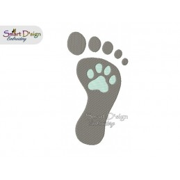 Paw Foot Print 2 Sizes Filled 4x4 & 5x7 inch