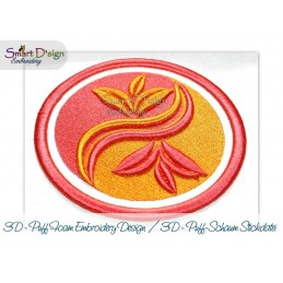 YING YANG LEAFS 3D Embroidery Foam Machine Embroidery Design