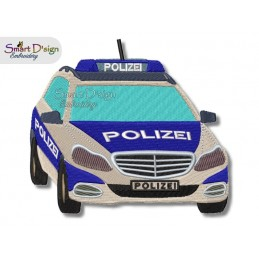 German Police Car 5x7 inch Machine Embroidery Design