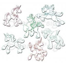 Magic Ponies 6 Redwork Motifs 5x7""