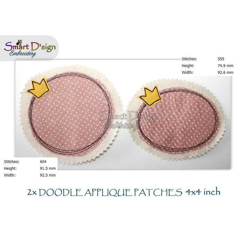 2x CROWN Doodle APPLIQUE Patch 4x4 inch Machine Embroidery Design